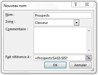 Fenêtre de création de nouveau nom pour Prospects