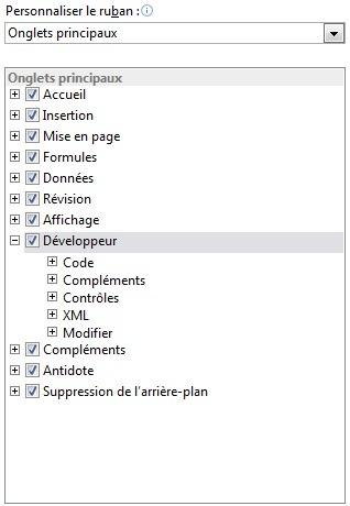 Groupe Personnaliser le ruban d'Excel