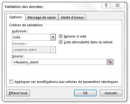 Fenêtre Validation des données pour Numéro_client