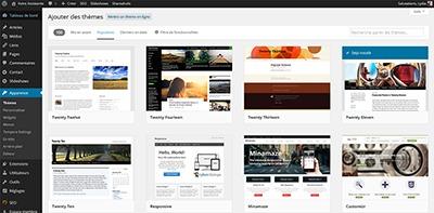 Interface pour changer de thème WordPress