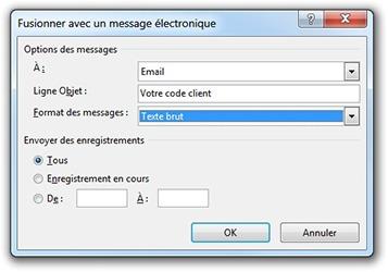 Fenêtre Fusionner avec un message électronique