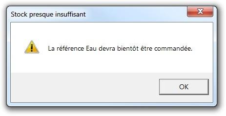 Exemple de message d'alerte VbExclamation avec Excel