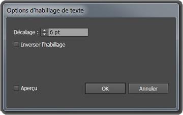 Options d'habillage de texte