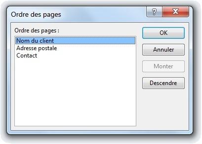 Fenêtre pour modifier l'ordre des pages du contrôle onglet
