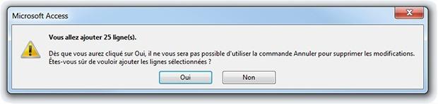 Message requête ajout Access