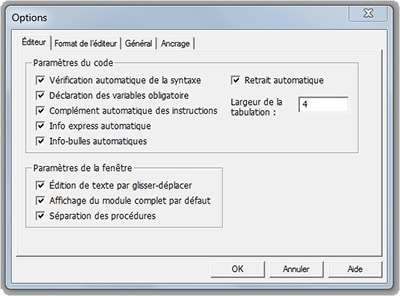 Fenêtre Options de la fenêtre Visual Basic