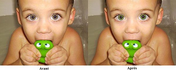 Résultat du changement de la couleur des yeux avec mode de fusion couleur