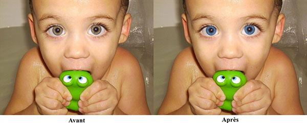 Résultat du changement de la couleur des yeux avec Teinte et Saturation