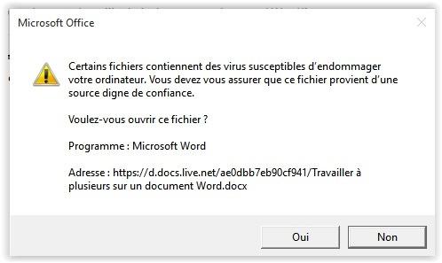 Message Certains fichiers contiennent des virus susceptibles d'endommager votre ordinateur