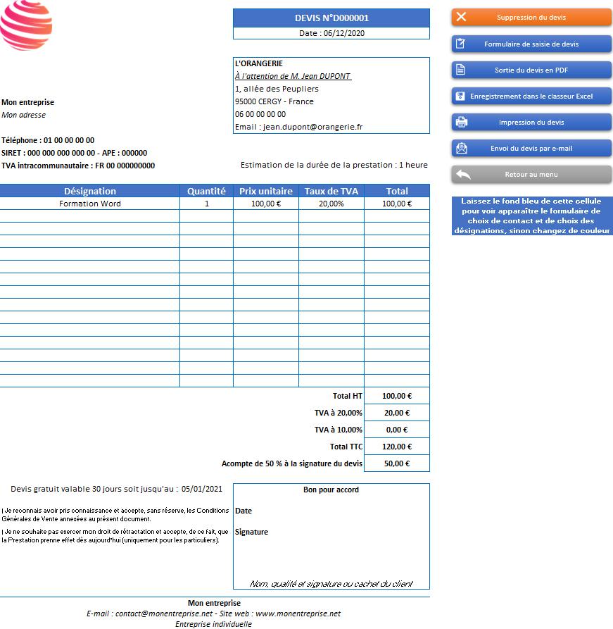 Devis de l'application Gérez vos devis et factures avec Excel - Version avec 2 taux de TVA