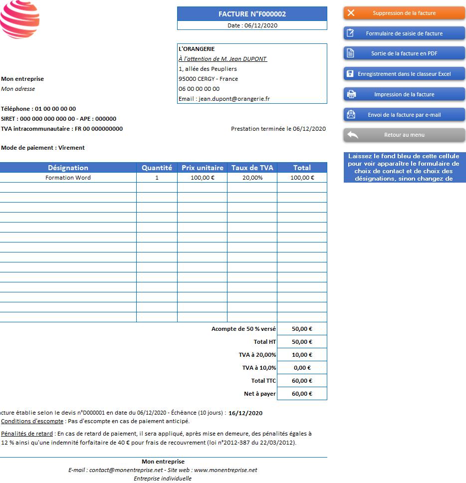 Facture de l'application Gérez vos devis et factures avec Excel - Version avec 2 taux de TVA