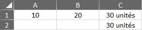 Résultat d'une concaténation Excel
