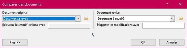 Fenêtre Comparer des documents
