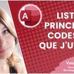 Liste des principaux codes VBA que j'utilise sur Access