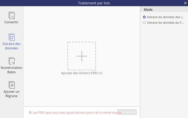Fenêtre pour ajouter des documents pour extraire des données