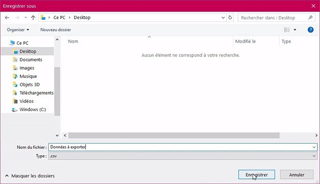 Fenêtre d'enregistrement du fichier Excel au format CSV