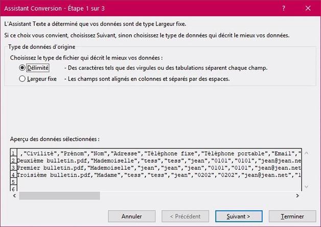 Fenêtre Assistant conversion pour Délimiter sur Excel