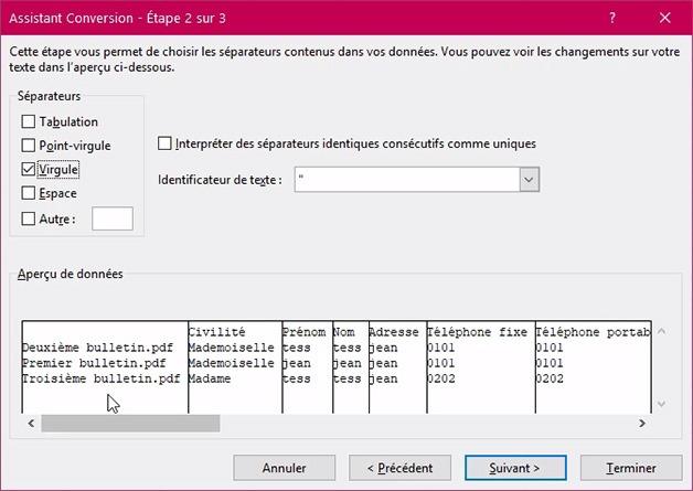 Fenêtre Assistant conversion pour délimiter par des virgules sur Excel CSV