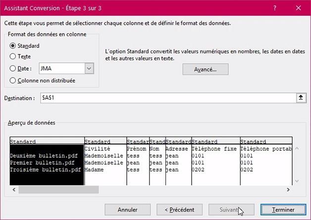 Fenêtre Assistant conversion format pour délimiter sur Excel