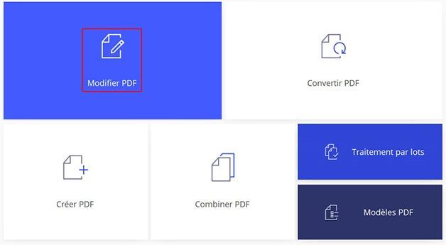 Bouton Modifier PDF de la page d'accueil