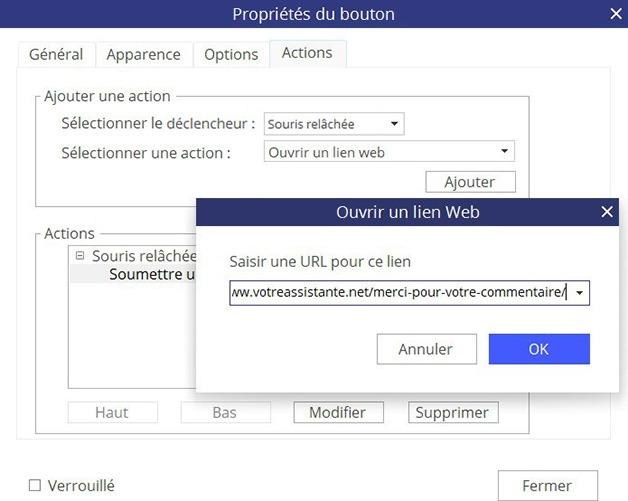 Fenêtre Propriétés du bouton - Onglet Actions - Ouvrir un lien web