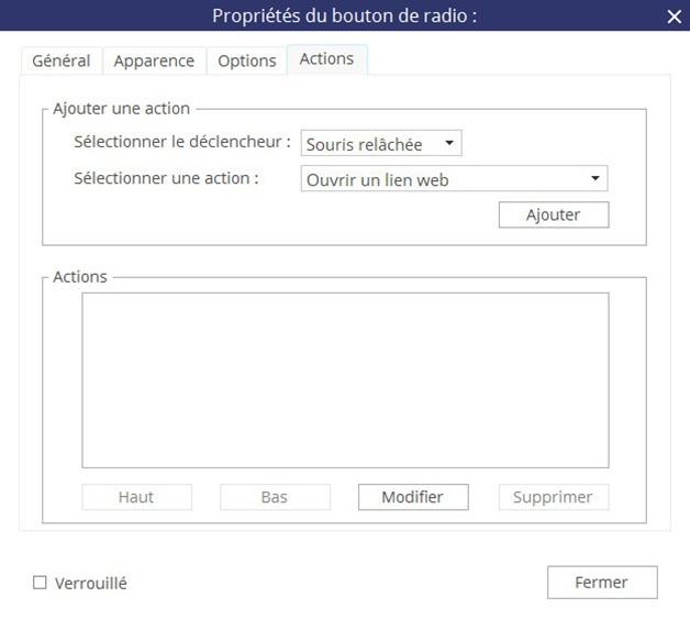 Fenêtre Propriétés du bouton radio - Onglet Actions