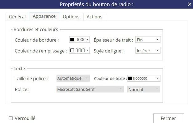 Fenêtre Propriétés du bouton radio - Onglet Apparence