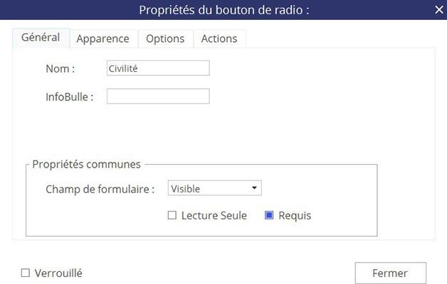 Fenêtre Propriétés du bouton radio - Onglet Général