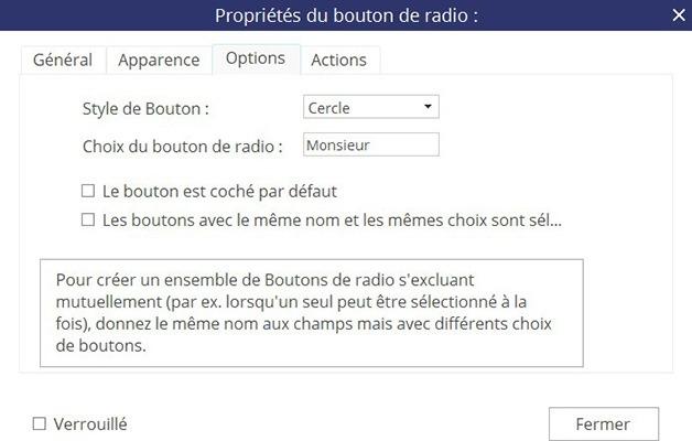 Fenêtre Propriétés du bouton radio - Onglet Options