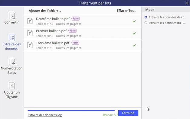 Fenêtre pour le traitement par lots effectué pour extraction de données