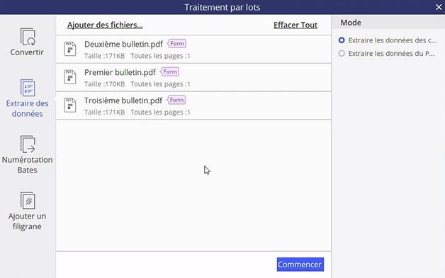 Fenêtre pour le traitement par lots pour extraire des données