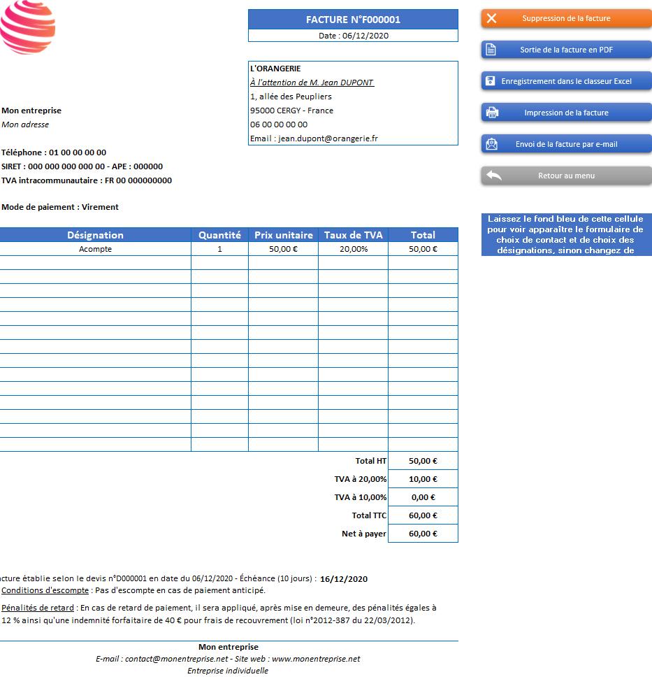 Facture d'acompte de l'application Gérez vos devis et factures avec Excel - Version avec 2 taux de TVA