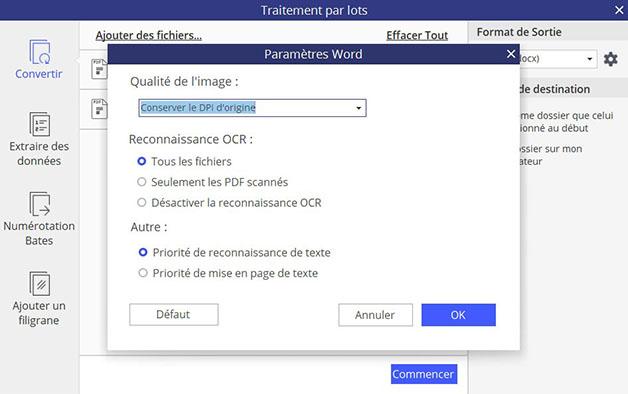Fenêtre des paramètres du traitement par lots de PDFelement 6