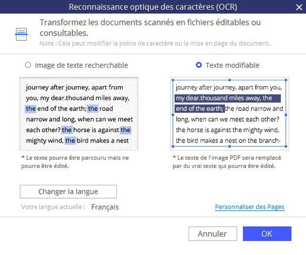 Fenêtre du choix de Reconnaissance Optique des Caractères (OCR) de PDFelement 6