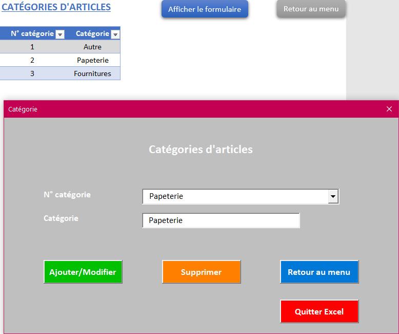 Gestion des catégories de l'application Gérez vos devis, factures et stocks avec Excel - Version sans TVA, avec 1 taux et 2 taux de TVA