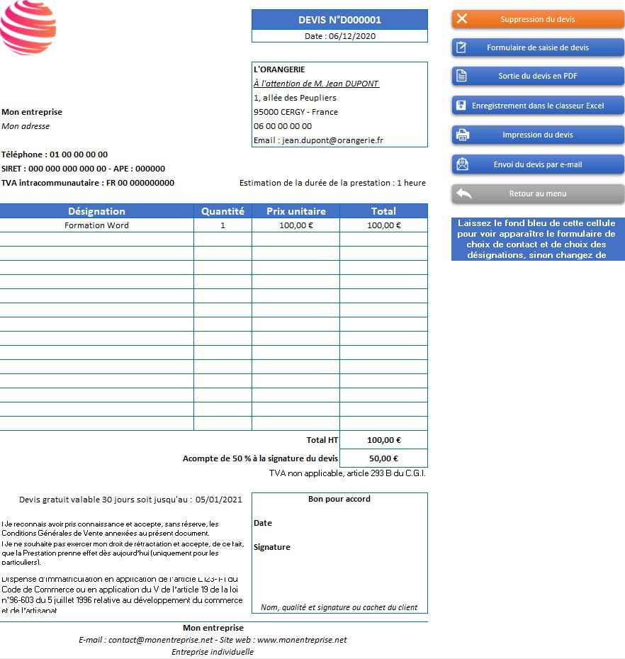 Devis de l'application Gérez vos devis et factures avec Excel - Version avec 1 taux de TVA