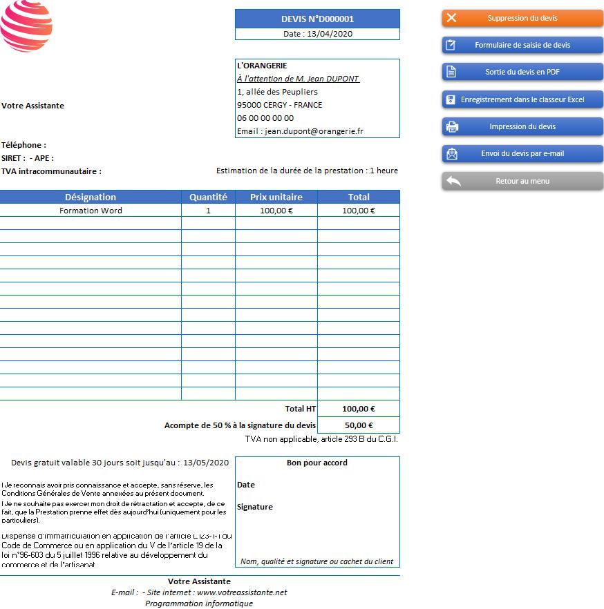 Devis de l'application Gérez vos devis et factures avec Excel - Version sans TVA