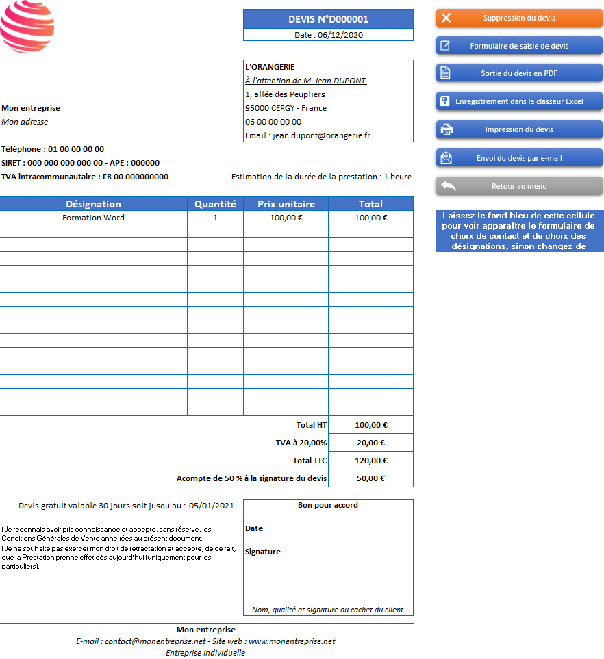 Devis de l'application Gérez vos devis, factures et stocks avec Excel - Version avec 1 taux de TVA