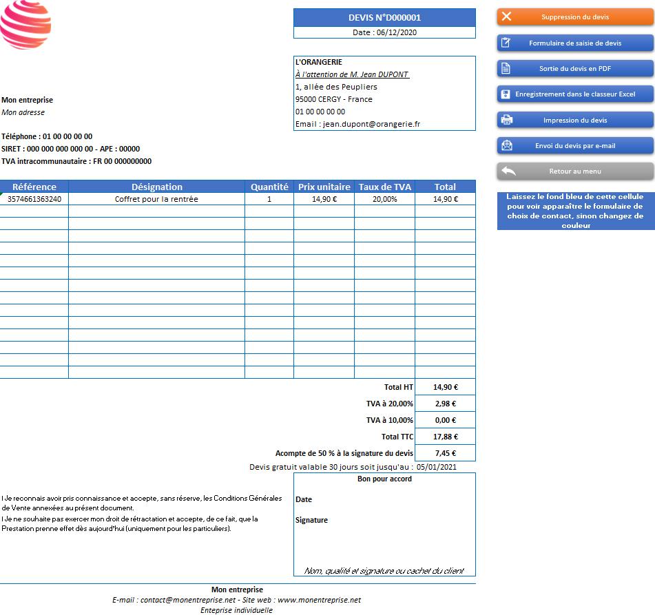 Devis de l'application Gérez vos devis, factures et stocks avec Excel - Version avec 2 taux de TVA