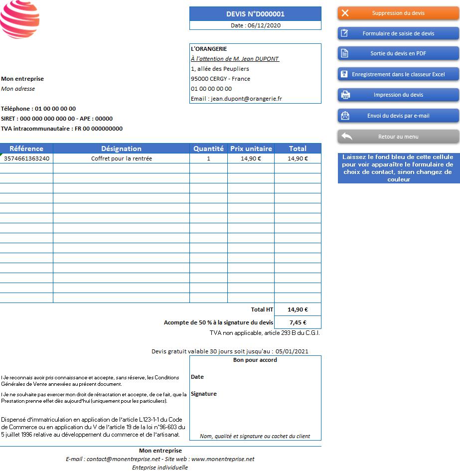 Devis de l'application Gérez vos devis, factures et stocks avec Excel - Version sans TVA