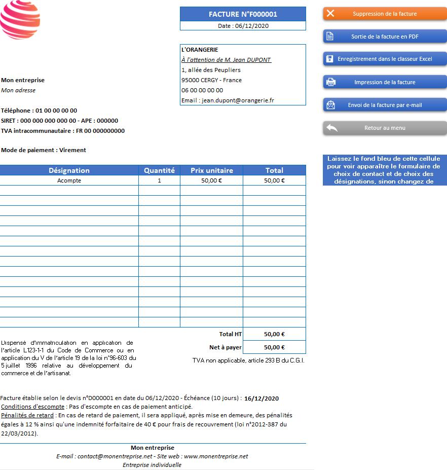 Facture d'acompte de l'application Gérez vos devis et factures avec Excel - Version avec 1 taux de TVA