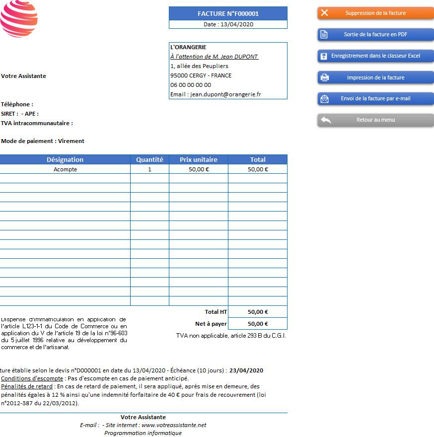 Facture d'acompte de l'application Gérez vos devis et factures avec Excel - Version sans TVA