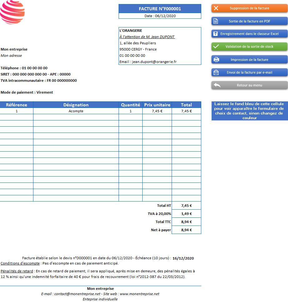 Facture d'acompte de l'application Gérez vos devis, factures et stocks avec Excel - Version avec 1 taux de TVA