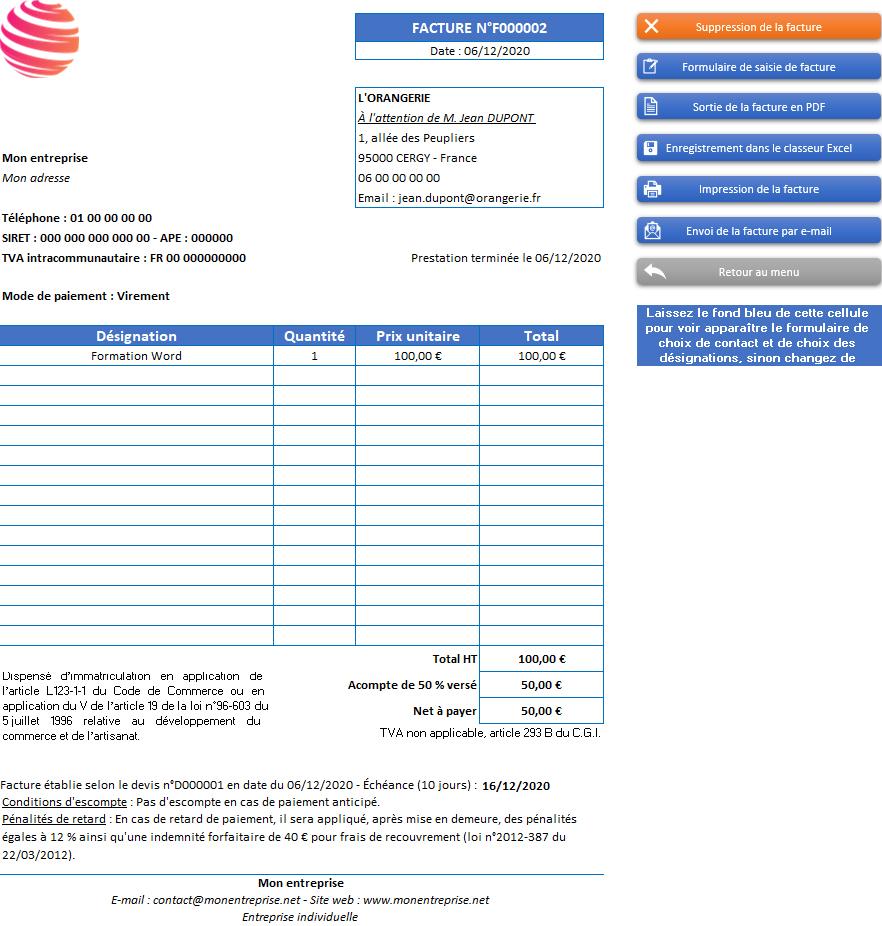 Facture de l'application Gérez vos devis et factures avec Excel - Version avec 1 taux de TVA