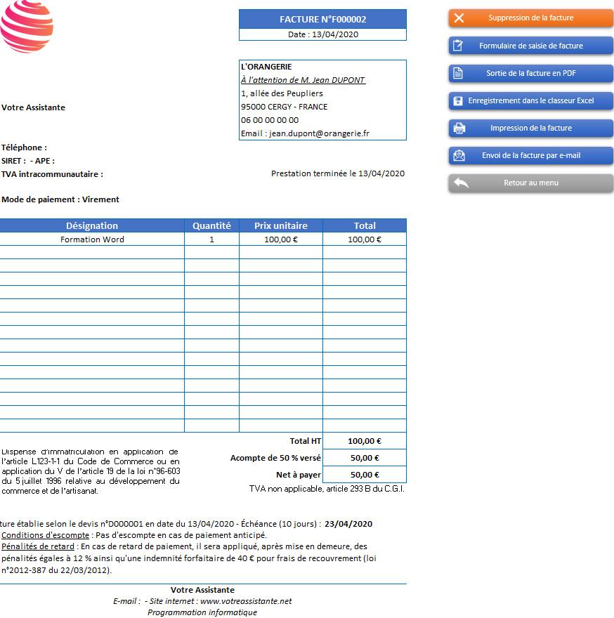 Facture de l'application Gérez vos devis et factures avec Excel - Version sans TVA