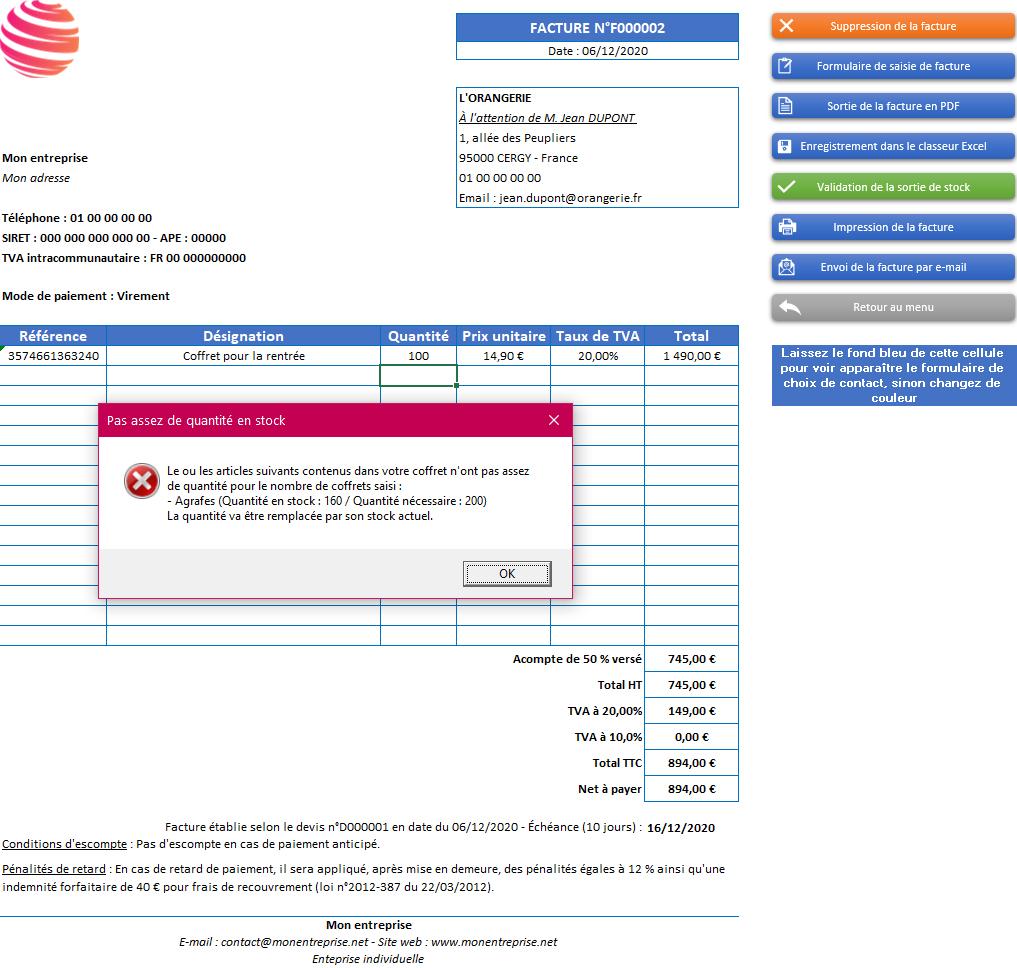 Facture de l'application Gérez vos devis, factures et stocks avec Excel - Version avec 2 taux de TVA