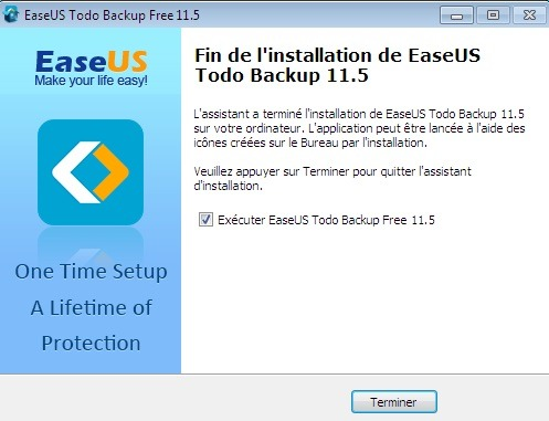 Fin de l'installation de Todo Backup Free