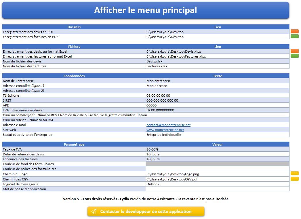 Page d'accueil de l'application Gérez vos devis et factures avec Excel et Gérez vos devis, factures et stocks avec Excel