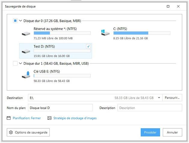 Sauvegarde de partition avec Todo Backup Free