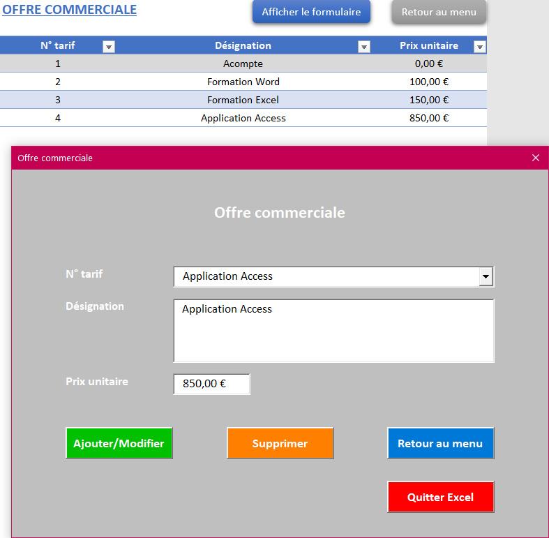 Gestion des tarifs de l'application Gérez vos devis et factures avec Excel - Version sans TVA et avec 1 taux de TVA